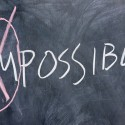 Chalkboard writing - concept of impossible or possible